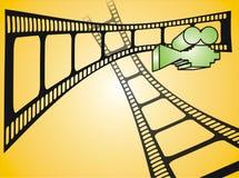Filmstreifen und grüne Filmkamera Lizenzfreies Stockfoto