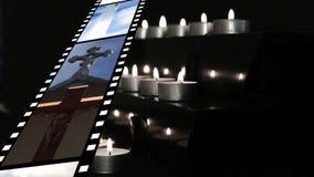 Filmstreifen und -kerzen stock video
