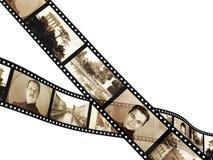 filmstrip在照片减速火箭的白色的查出的内存 库存照片