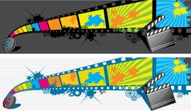 Filmstrip. Two filmstrip banner pattern design Royalty Free Stock Photo