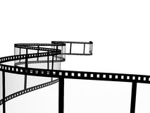 Filmstrip. 3d abstract photographic film. Object over white Royalty Free Stock Image