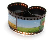 Filmstrip. Brown photographic film with images of nature Stock Photography