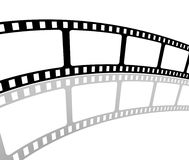 Filmstrip. The picture shows an empty  curved filmstrip on white background Royalty Free Stock Photography