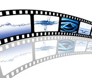 Filmstrip. The picture shows a filmstrip with water as main motive Royalty Free Stock Photo