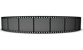 Filmstrip. A black and white isolated view of a curved filmstrip on a white background Stock Photo