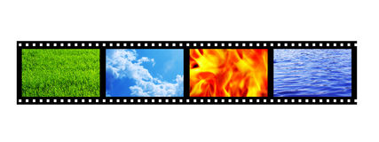 Filmstrip. With four elements of nature. Object over white Royalty Free Stock Photography