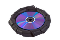 Filmstrip autour d'un disque Photos stock