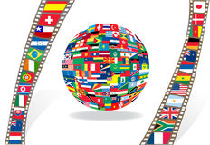 Filmstrip and ball with national flags. Illustration Stock Photo