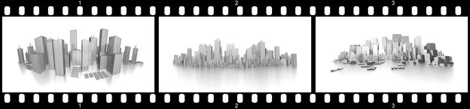 Filmstrip big cities. Ready to use for designers and publishers Stock Photo