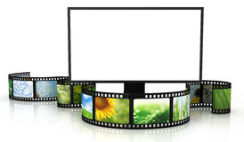 Filmstrip with blank TV. 3D render Royalty Free Stock Photo
