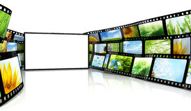 Filmstrip with blank TV. 3d renders Stock Images