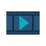 Filmstrip with blue play buttom. Vector illustration Stock Photography