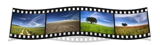 Filmstrip con cuatro paisajes coloridos Imagenes de archivo