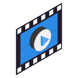 Filmstrip 3D isometric icon. On a white background Royalty Free Stock Image