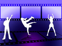 Filmstrip Dancing Indicates Disco Music And Border. Filmstrip Disco Representing Cinematography Dance And Celebration Royalty Free Stock Images