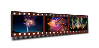 Filmstrip del fuegos artificiales celebradores Foto de archivo libre de regalías