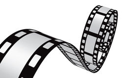 Looped strip of movie film. Isolated on a white background royalty free illustration