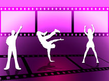 Filmstrip Disco Indicates Celluloid Dance And Photograph. Disco Dancing Representing Camera Film And Nightclub Royalty Free Stock Photography