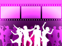 filmstrip dancing indicates disco music and border stock