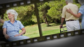 Filmstrip of elderly couple in a park Royalty Free Stock Images