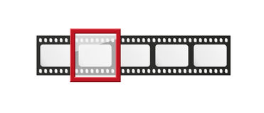 Filmstrip. With five frames and one selected frame on white background Stock Photos