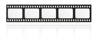 Filmstrip. With five frames and reflection on white background Stock Image