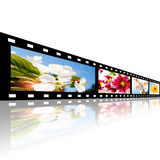 Filmstrip with flowers pictures over white. Background Royalty Free Stock Photography