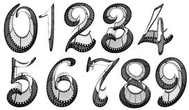 Filmstrip font. Numbers pack Stock Images