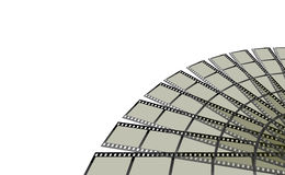 FilmStrip Formation. A background with an abstract view of a filmstrip formation, isolated on a white background Stock Images