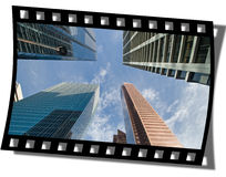 Filmstrip Frame. Cut piece of filmstrip of a travel movie on a developed negative curled at the edges stock photography