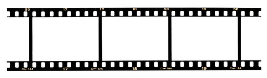 Filmstrip frames. Scanned slide filmstrip with blank space in frames and numbers near perforation