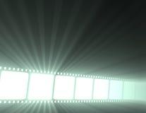Filmstrip horizontal de la película con la luz Fotos de archivo libres de regalías