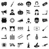 Filmstrip icons set, simle style Royalty Free Stock Photography