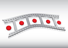 Filmstrip illustration. With red circle and background Royalty Free Stock Photo