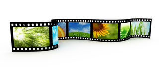 Filmstrip with images. 3d render Stock Photos