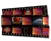 Filmstrip and internet. Filmstrip including internet news and laptop subjects Royalty Free Stock Photography