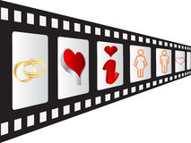 Filmstrip with love elements Royalty Free Stock Image