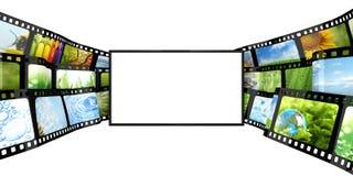 Filmstrip med den tomma TV:N royaltyfri illustrationer
