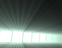 Filmstrip movie glowing light flare Royalty Free Stock Photos