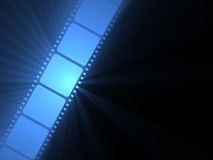 Filmstrip movie blue light flare