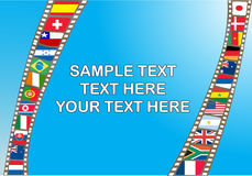Filmstrip with national flag. S in blue background, illustration Royalty Free Stock Photos