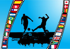 Filmstrip with national flag. Filmstrip with soccer player silhouettes and national flags Royalty Free Stock Photo
