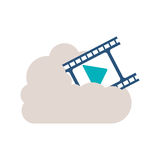 Filmstrip with play buttom into the cloud. Vector illustration Royalty Free Stock Photo
