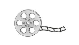 Filmstrip and reel. On white background, isolated Royalty Free Stock Photo