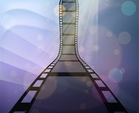 Filmstrip roll on the abstract background. Vector illustration. Cinema and movie element or object Royalty Free Stock Photo