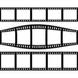Filmstrip Set With Three Different Versions of Film. Black Filmstrip Set With Three Different Versions of Film Royalty Free Stock Image