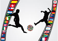 Filmstrip with soccer player. Silhouettes and national flags Royalty Free Stock Photography