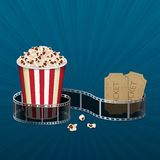 Filmstrip with vintage ticket Royalty Free Stock Photos