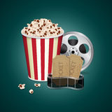 Filmstrip with vintage ticket Royalty Free Stock Photography