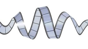 Filmstrip waving. 3D render of filmstrip waving Royalty Free Illustration